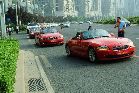 超级豪华婚庆车队亮相郑州街头。 向明超 摄
