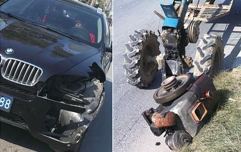 宝马车左前侧车体受损