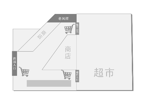 卜蜂莲花超市所在商场一楼平面图 制图 谢景豹