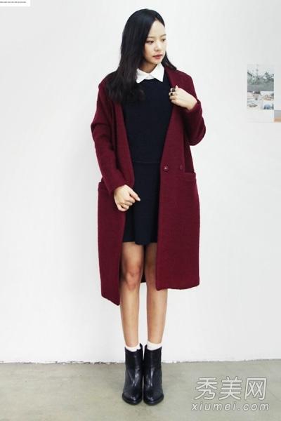 枣红色的大衣在冬季最艳丽的了