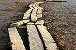 实拍鄱阳湖水位下降湖底露出明代古桥