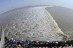 实拍11万游客观一线潮 潮水如千军万马