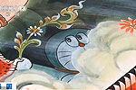 画师为700年古寺创作机器猫卡通壁画