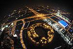 航拍北京除夕绚烂夜景 警方夜航保平安
