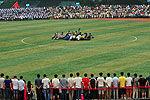 华中师范大学4500师生做人浪庆祝毕业