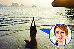 谢婷婷性感秀美背 沙滩瑜珈